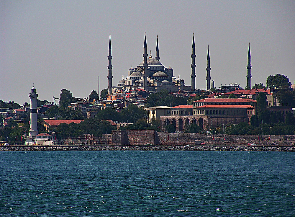 The Blue Mosque from the Bospherous, Istanbul, Turkey