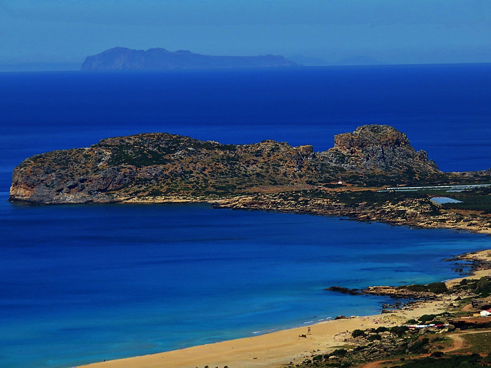 Falasarna Bay, Petalidha Island in the background, western Crete