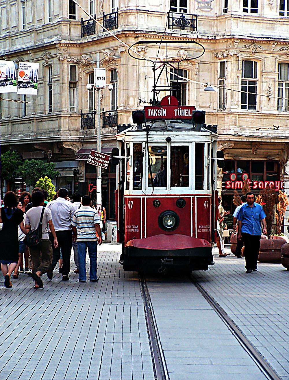 Istaklal Avenue in Beyoglu, Istanbul, Turkey