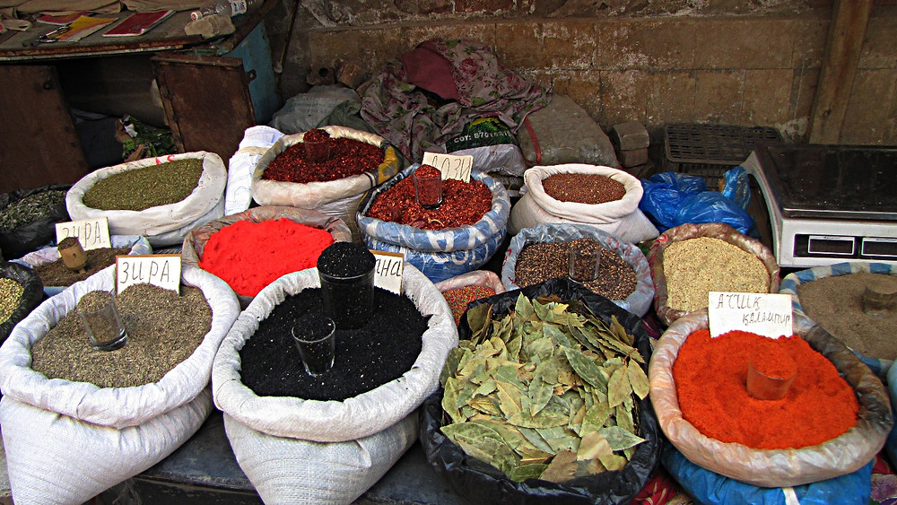 Spices at a market in Osh, southern Kyrgyzstan