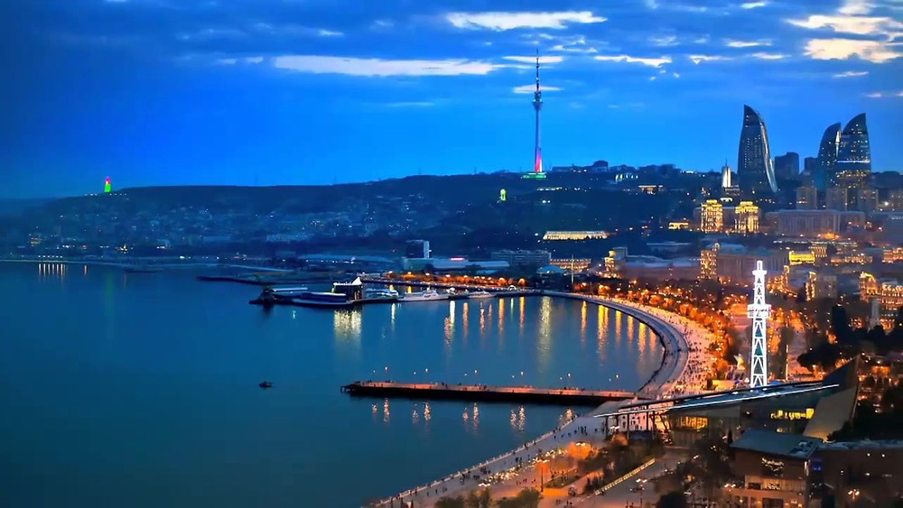 Baku bay at night
