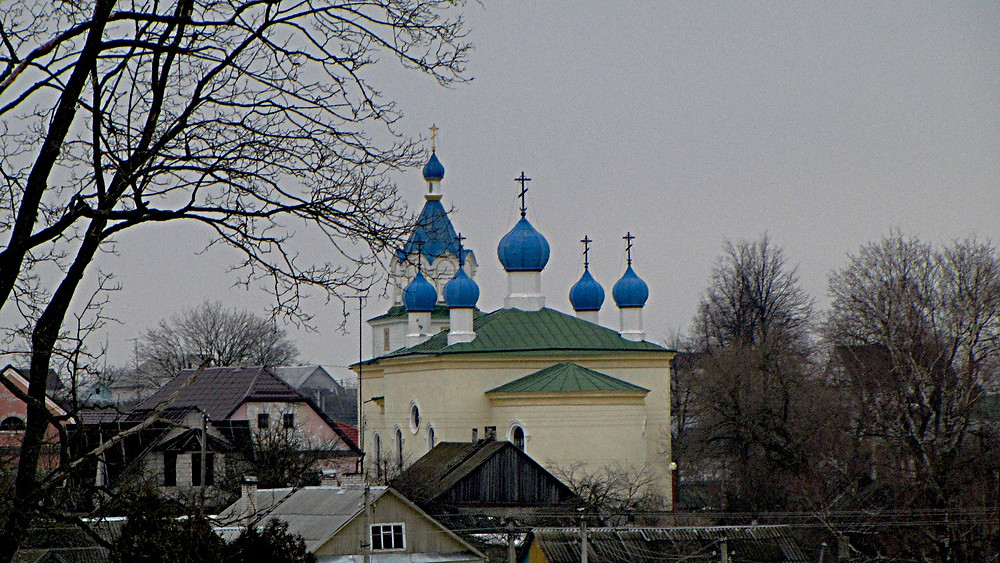 The blue onion domes at Mir Holy Trinity Church, Belarus