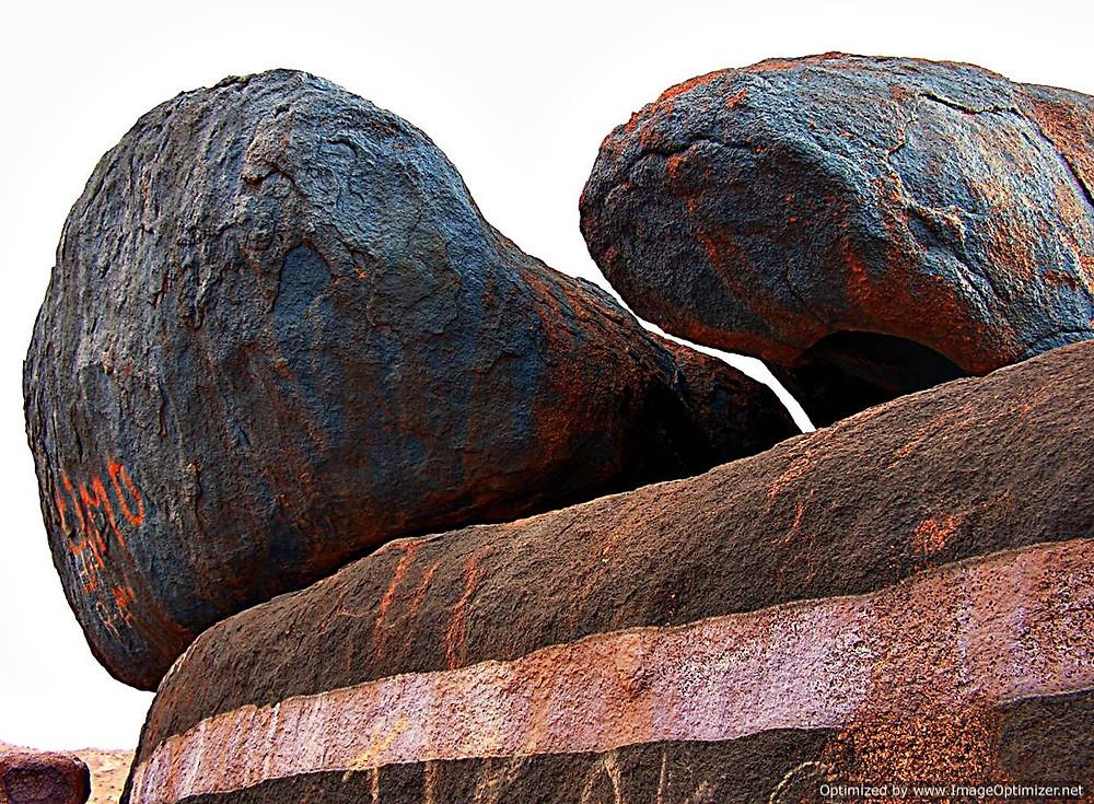 Blue-painted rocks near Tafraoute, Morocco