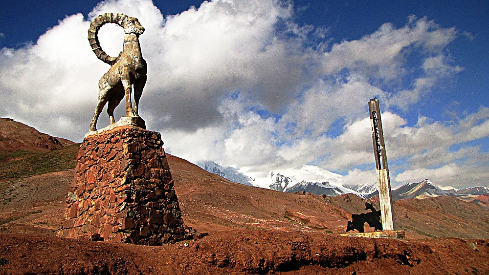 Border monument, Pamir Highway, Kyrgyzstan/Tajikistan