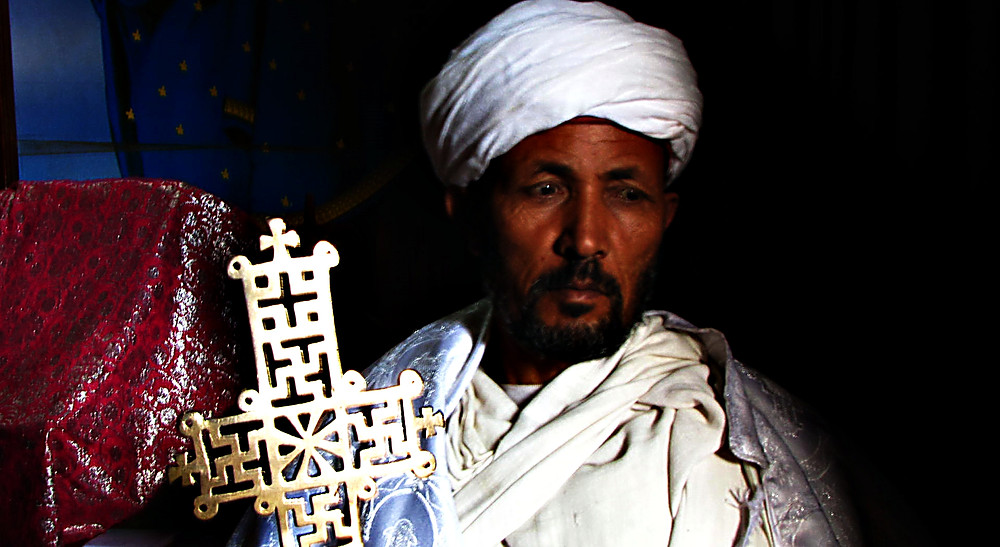 priest at the Church of Our Lady Mary of Zion - supposed site of the Ark of the Covenant, Axum, Ethiopia