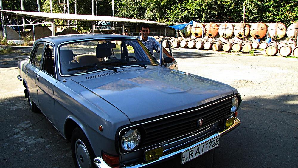 Driver and hire car, Kakheti region, Georgia