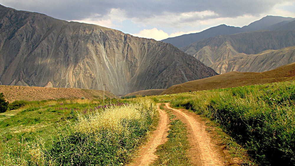 A 'jayloo' trail in the mountain pastures of central Kyrgyzstan