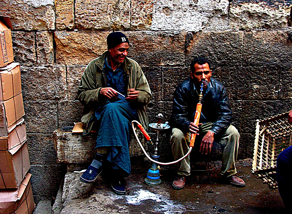 locals enjoy a puff on a nargileh pipe, Cairo, Egypt