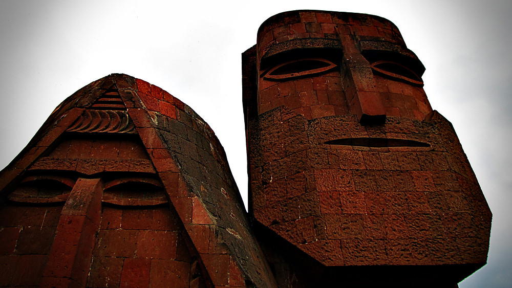 'We Are Mountains' sculpture, near Stepanakert. A symbol of Armenian heritage in Nagorno-Karabakh, Armenia