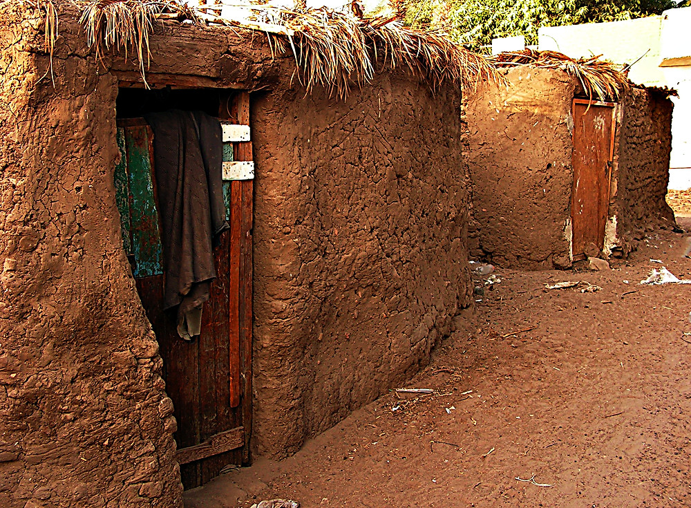 Mud huts on Elephantine Isle, Aswan, Egypt