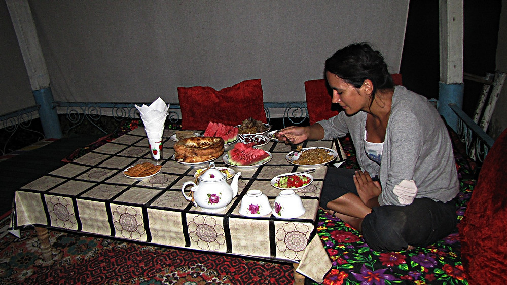 Dining, Kyrgyz-style, in a yurt, Kyrgyzstan