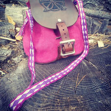 Leather Purse with Tablet Weave Strap