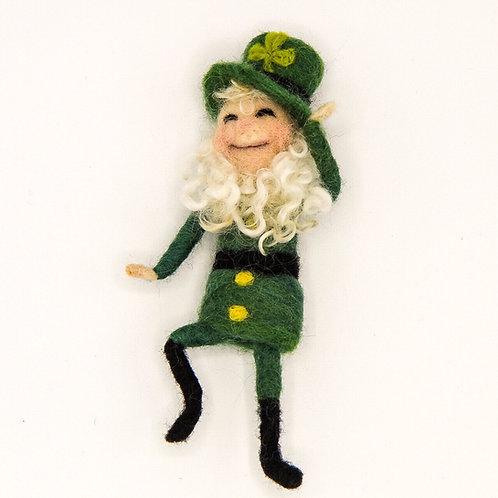 Bendy Leprechaun, felt Leprechaun, art doll