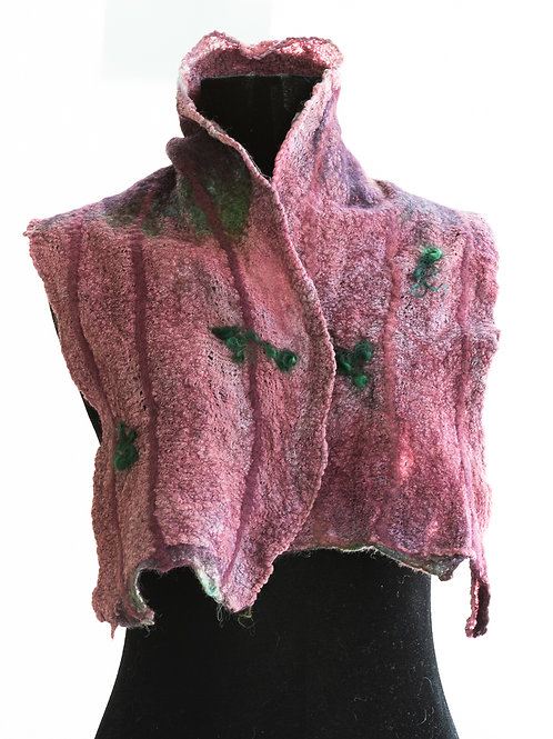 Nuno Felted Scarf,Maroon and Pink, Cotton, Wool