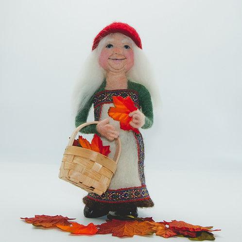 Needle Felted Gnome, Elf, Forest spirit ,Mrs. Santa doll, Art Doll, Fiber Art