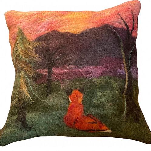 Foxy Sunset Felted Pillow