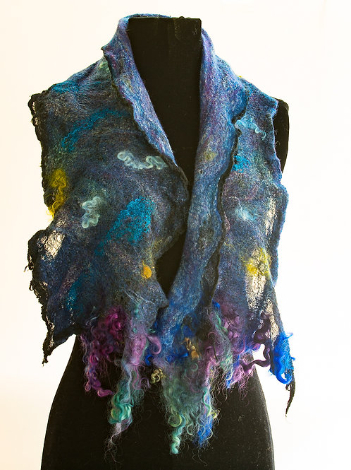Nuno Felted Scarf, Cotton and Merino, Blue Scarf