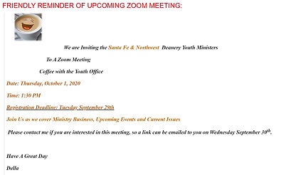 ZOOM MEETING YOUTH MINISTERS 1 OCT 2020.
