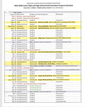 CONFIRMATION FORMATION PROGRAM SCHEDULE