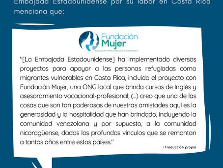 Agradecimiento a la Embajada de los Estados Unidos en Costa Rica
