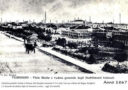 Viale Manin e stabilimenti balneari Viareggio 1867
