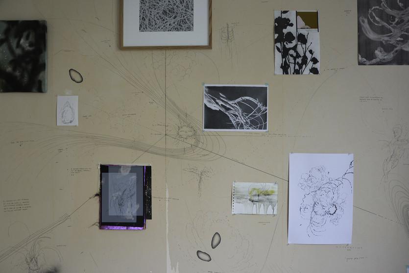 Carte incertaine Dessin mural à la Drawing Factory Résidence organisée par le DrawingLab Paris et le CNAP 2021