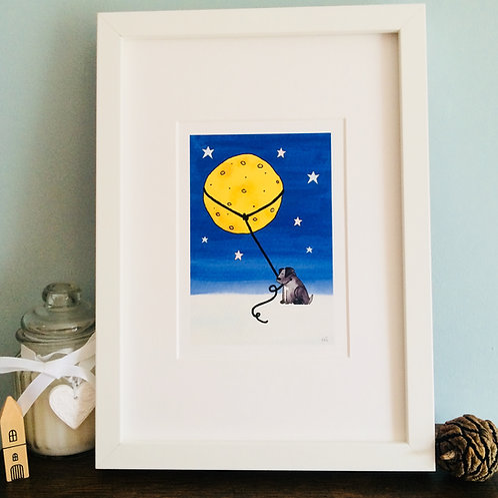 Monty Dog Lassoes the Moon A5 Print (unframed)
