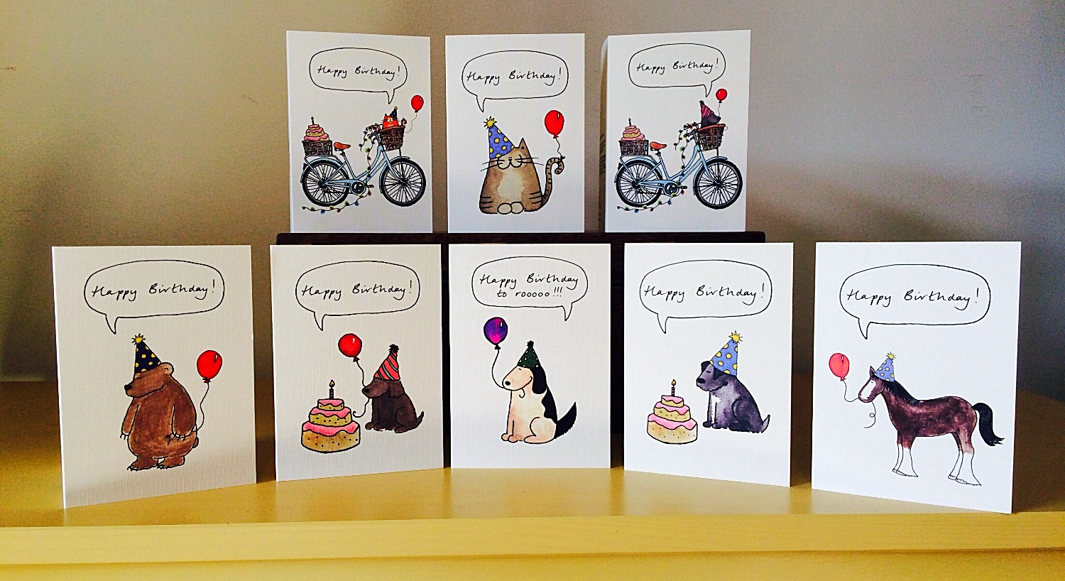 A selection of birthday card designs