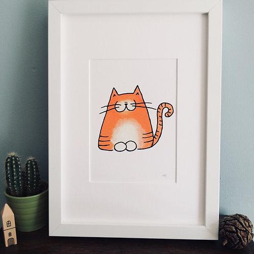 Hendrix Ginger Cat A5 Print (unframed)