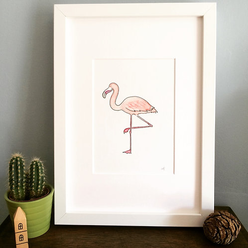 Phillip Flamingo A5 Print (unframed)