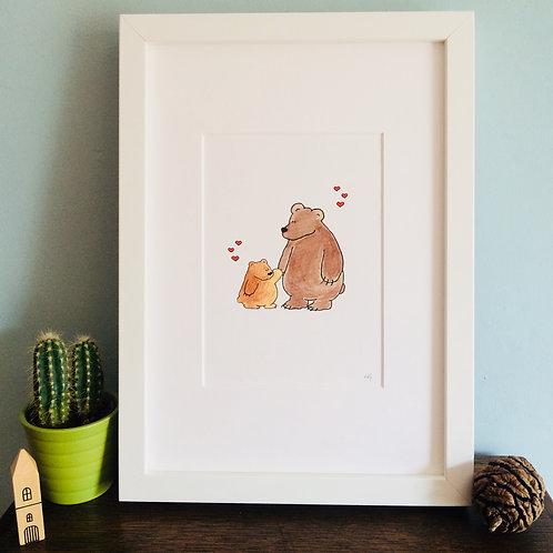 Daddy Bear & Baby Bear A5 Print (Unframed)