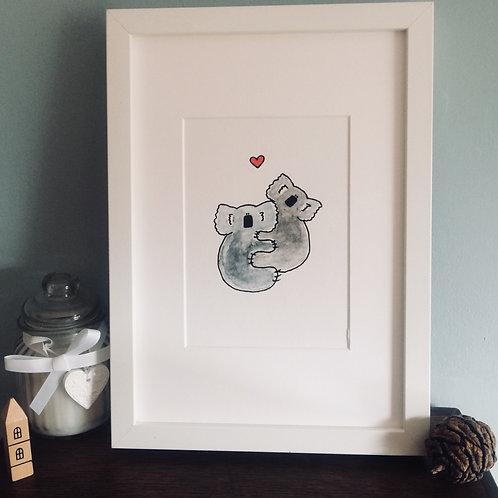 Koala Cuddles A5 Print (Unframed)