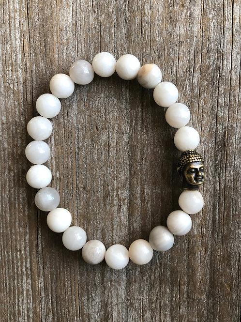 White Agate Buddha Bracelet