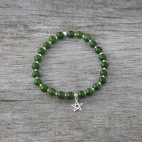 BC Jade Bracelet with Sterling Silver Charm
