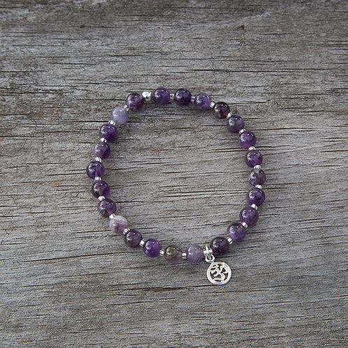 Amethyst Stone Bracelet with Sterling Silver Charm