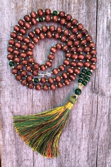 BC Jade Mala with Lacquered Wood