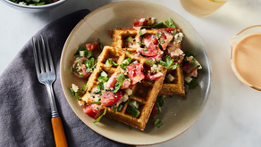 Crispy Chickpea Waffles with Middle Eastern Salad and Harissa Tahini Sauce (Gluten-Free) - Food52