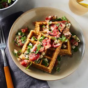 Crispy Chickpea Waffles with Middle Eastern Salad and Harissa Tahini Sauce (Gluten-Free) - Food52