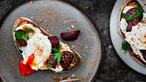 Whipped Feta with Beetroot on Toast with Poached Eggs and Dukkah