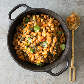 Harissa Butter Beans with Tomatoes and Greens