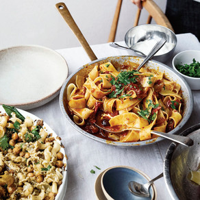 Pappardelle with Rose Harissa, Black Olives, and Capers - Ottolenghi