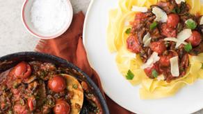 Aubergine, Rose Harissa and Caper Pasta