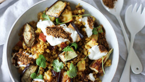 Spiced Israeli Couscous Salad with Eggplant, Yoghurt and Harissa