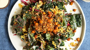 Creamy Kale Salad with Chickpeas, Beetroot and Dukkah