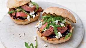 Steak Sandwich with Harissa, Caramelised Onions and Feta - Delicious Magazine