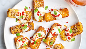 Halloumi Fries with Dukkah, Yoghurt and Pomegranate Molasses