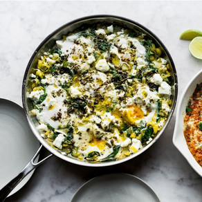 Braised Eggs with Leek and Zahtar