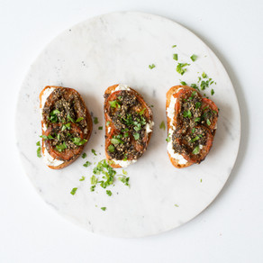 Labneh Crostini with Roasted Tomatoes and Zahtar