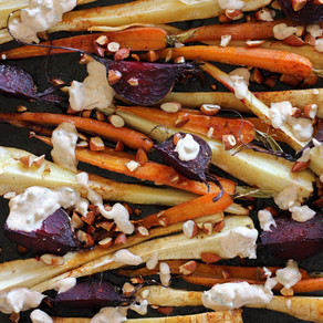 Baby Root Vegetables with Harissa Spiced Yoghurt