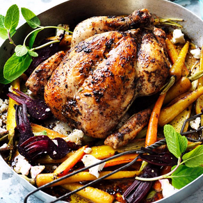 Roasted Sumac Chicken with Dukkah and Baby Vegetables